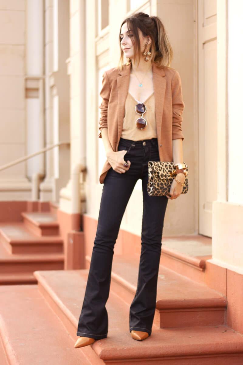 FashionCoolture - 30.03.2016 look du jour flare denim MOfficer jeans camel blazer (7)