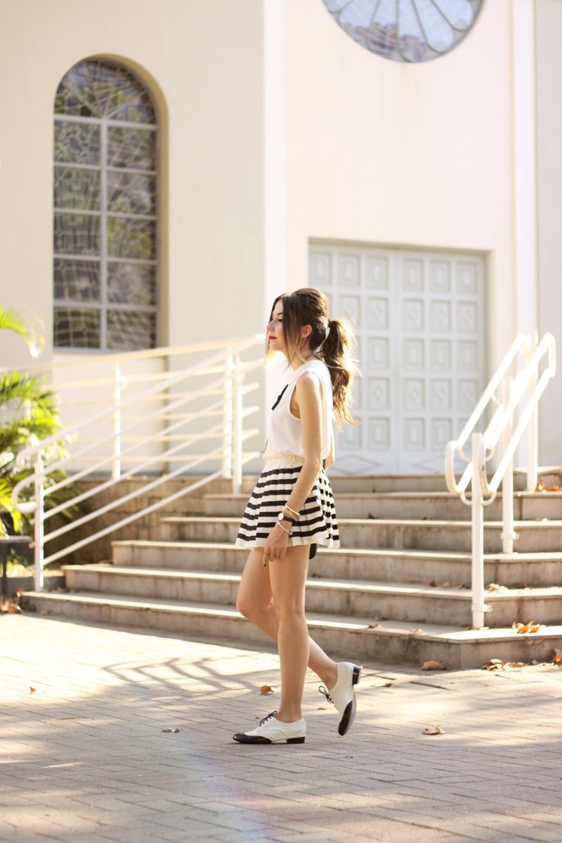FashionCoolture - 20.04.2016 look du jour black and white preppy outfit stripes oxford (4)