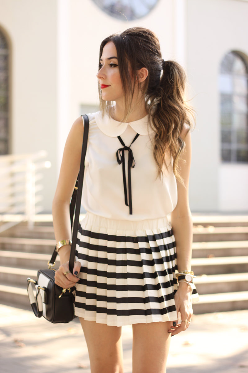 FashionCoolture - 20.04.2016 look du jour black and white preppy outfit stripes oxford (5)