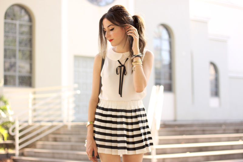 FashionCoolture - 20.04.2016 look du jour black and white preppy outfit stripes oxford (7)