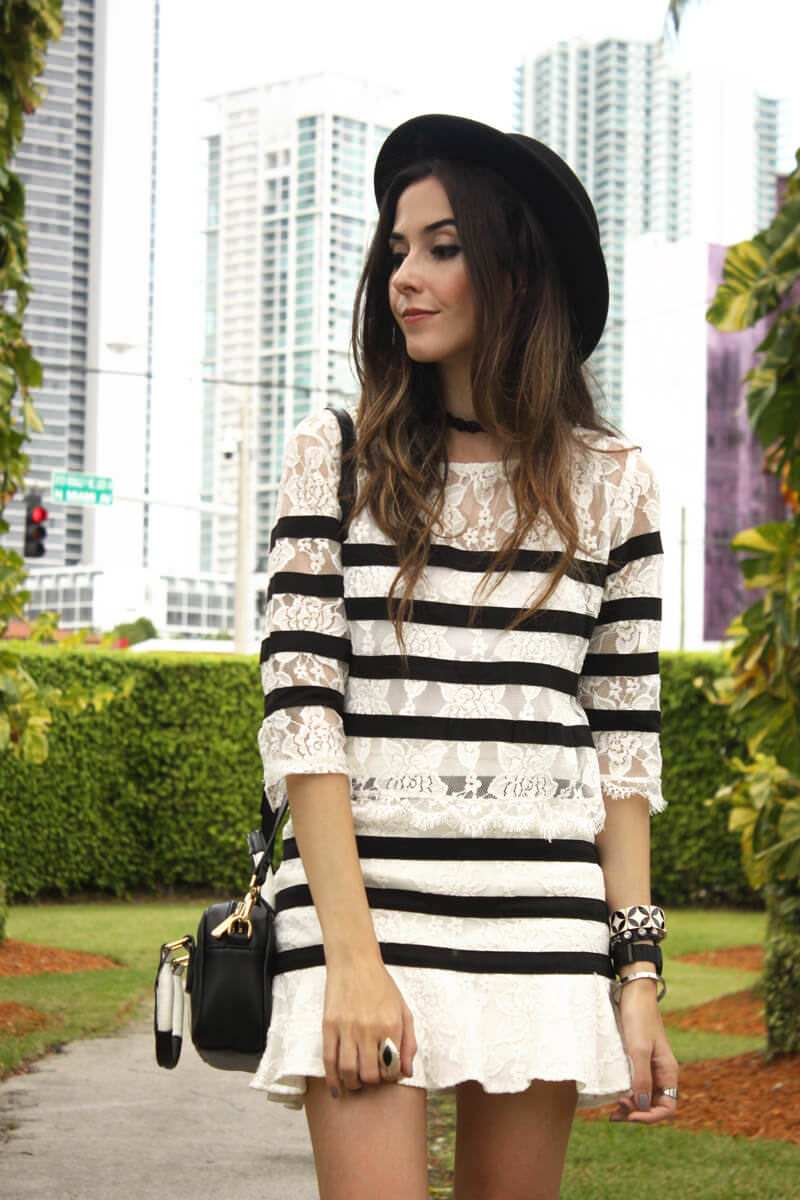 FashionCoolture - 28.06.2016 look du jour black and white lace stripes (5)