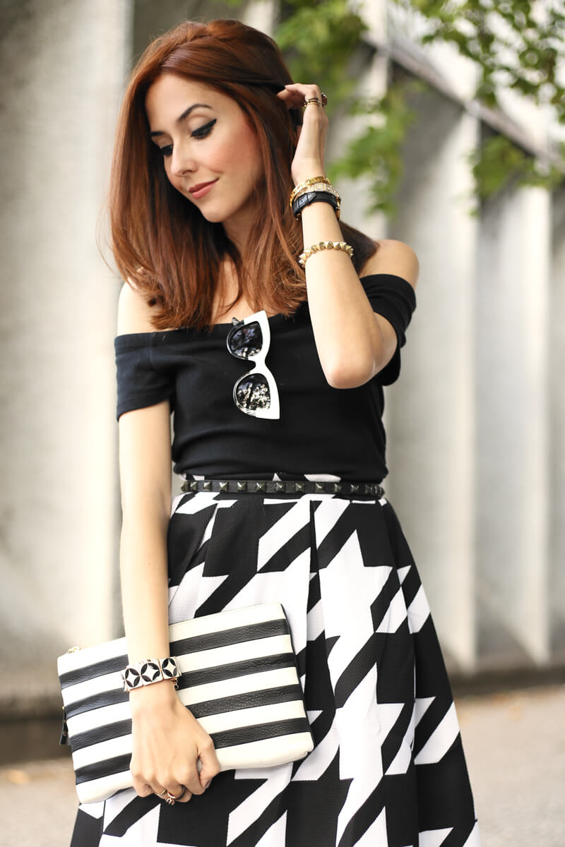 FashionCoolture - 12.07.2016 look du jour black and white pied de poule skirt midi (6)