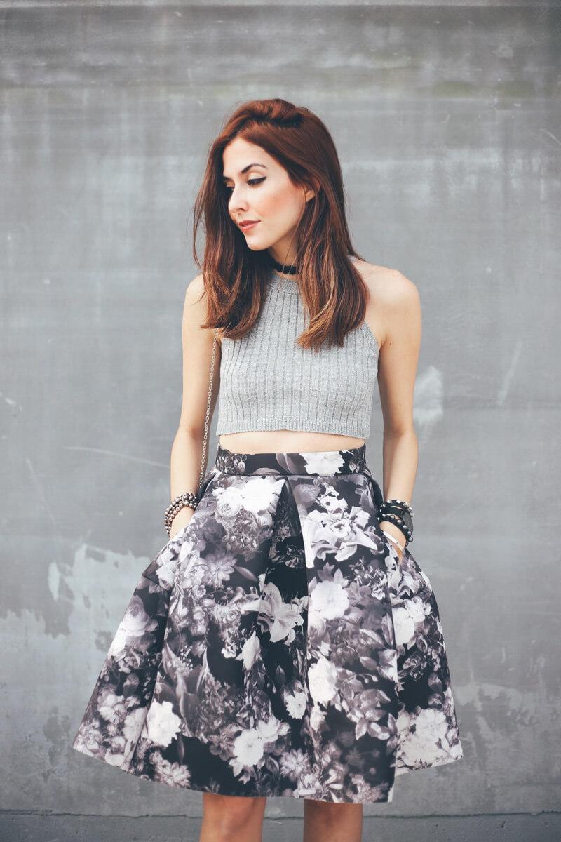 FashionCoolture - 08.08.2016 look du jour midi floral skirt gray (2)