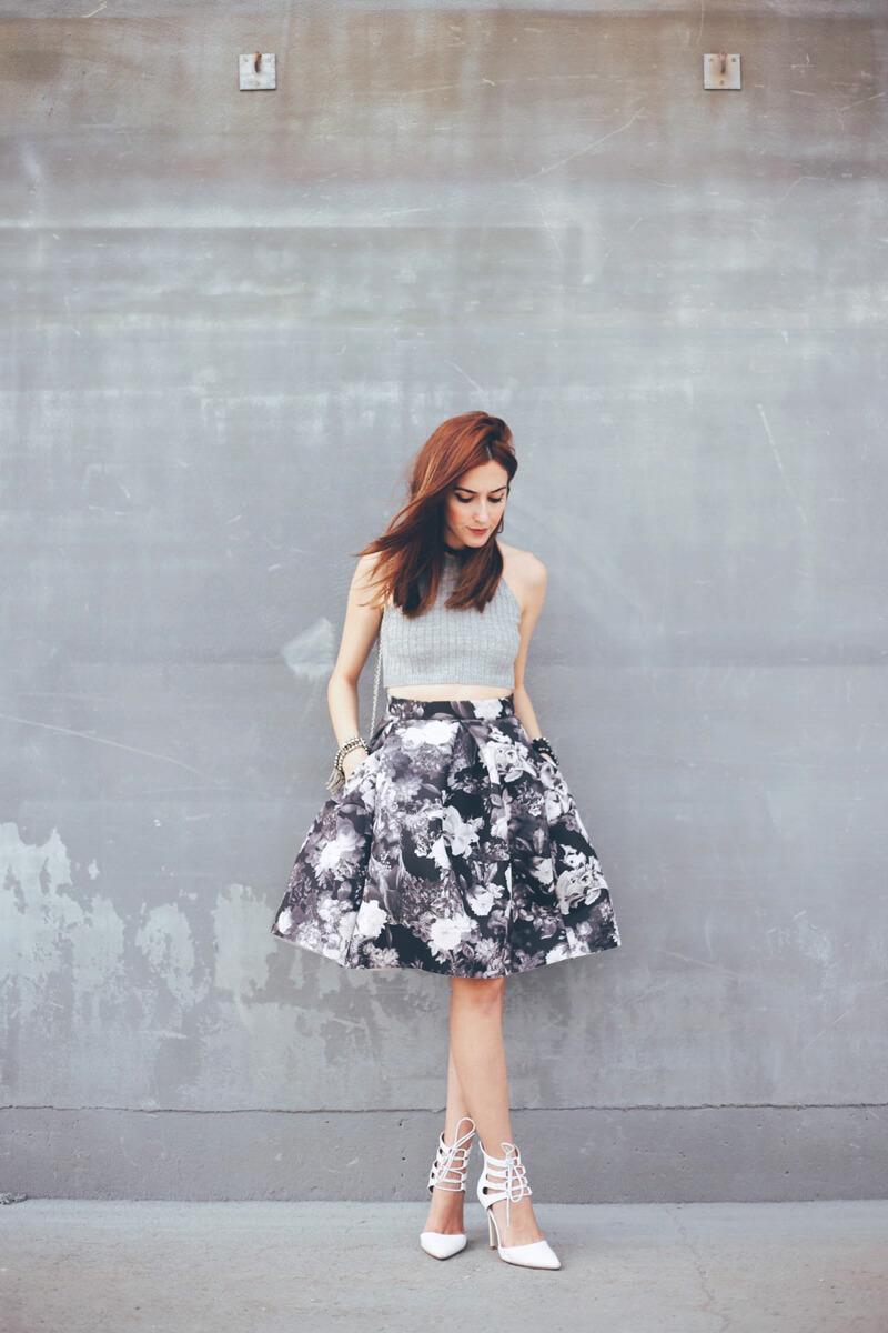 FashionCoolture - 08.08.2016 look du jour midi floral skirt gray (3)