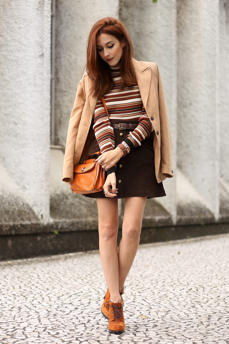 FashionCoolture - 22.08.2016 look du jour Amaro sale caramelo bolsa camel coat striped top (1)