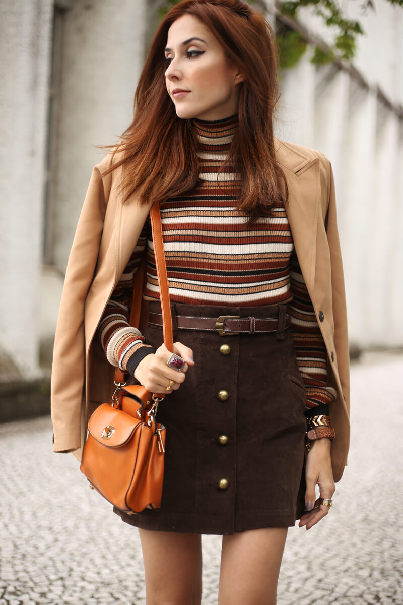 FashionCoolture - 22.08.2016 look du jour Amaro sale caramelo bolsa camel coat striped top (3)
