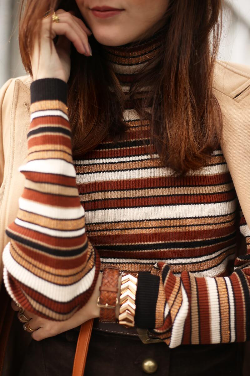 FashionCoolture - 22.08.2016 look du jour Amaro sale caramelo bolsa camel coat striped top (4)