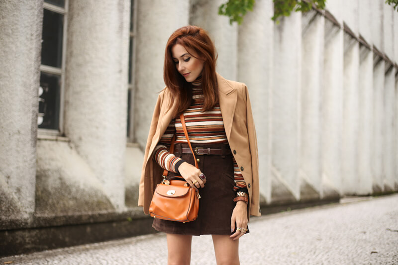 FashionCoolture - 22.08.2016 look du jour Amaro sale caramelo bolsa camel coat striped top (6)