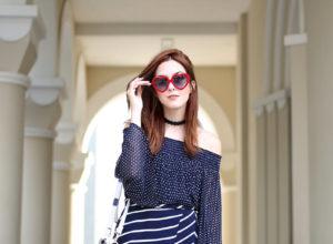 FashionCoolture - 29.08.2016 look du jour Shoulder navy blue stripes and dots (6)