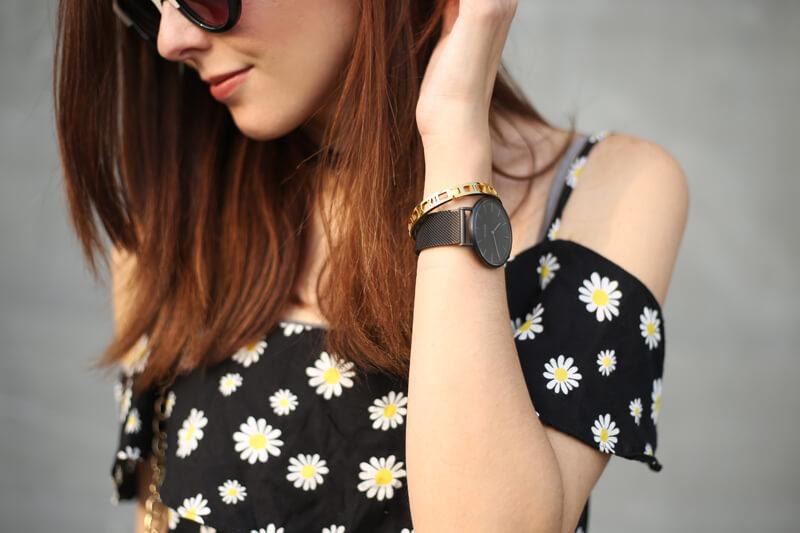 FashionCoolture - 31.08.2016 look du jour Slywear striped skirt floral daisy top (3)