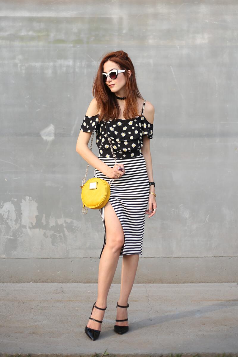 FashionCoolture - 31.08.2016 look du jour Slywear striped pencil skirt floral daisy top (4)