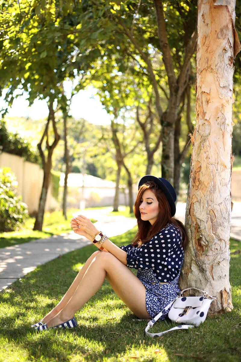 fashioncoolture-26-09-2016-look-du-jour-mix-of-prints-floral-romper-polka-dots-shirt-striped-shoes-4