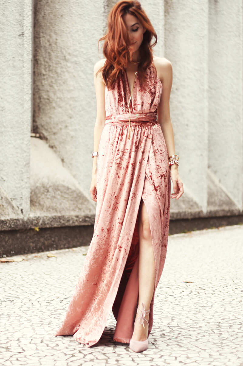9813ad40eb53 Blush Velvet Dress from Lulus Outfit | FashionCoolture