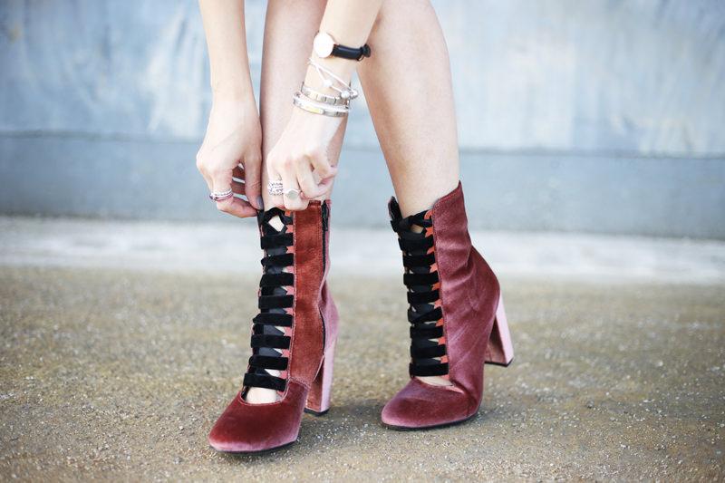 velvet lace up boots